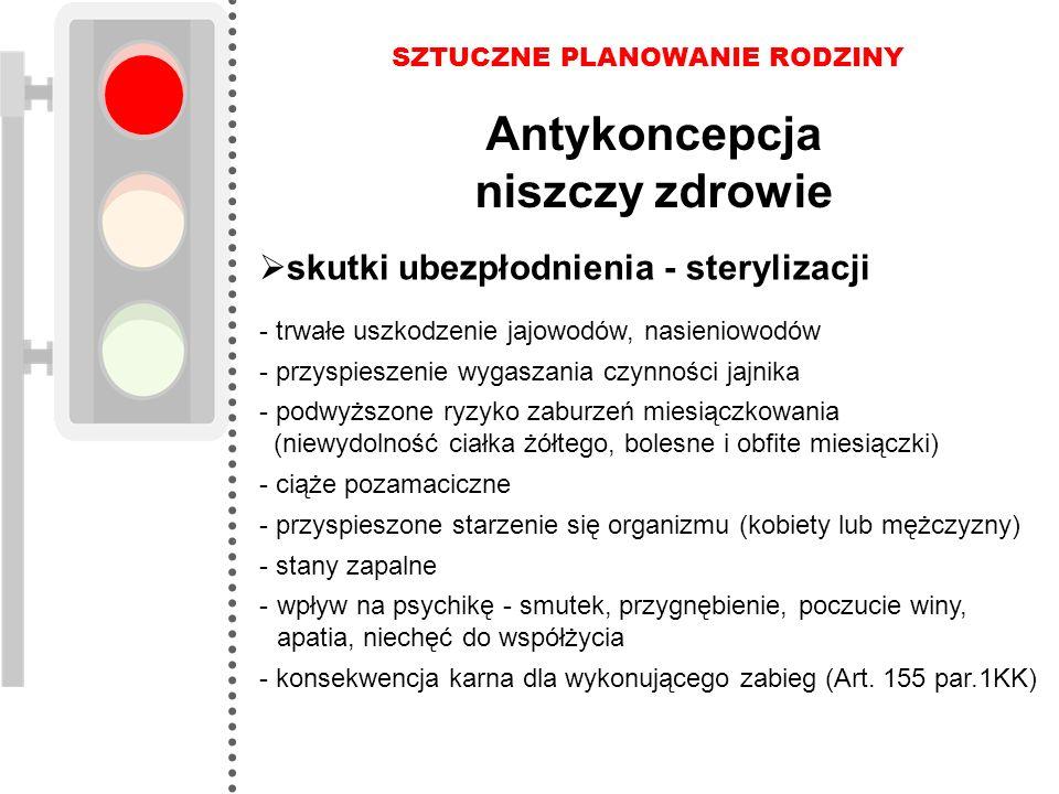 SZTUCZNE PLANOWANIE RODZINY Antykoncepcja niszczy zdrowie  skutki ubezpłodnienia - sterylizacji - trwałe uszkodzenie jajowodów, nasieniowodów - przys