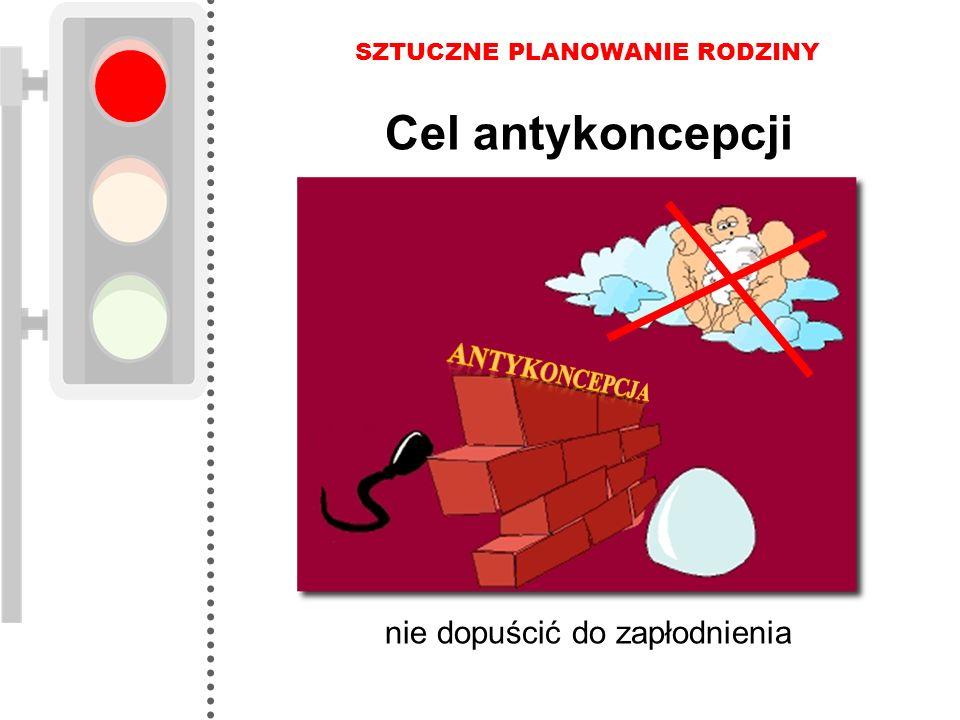 Cel antykoncepcji SZTUCZNE PLANOWANIE RODZINY nie dopuścić do zapłodnienia