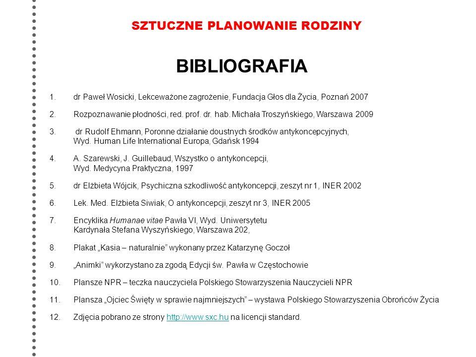 SZTUCZNE PLANOWANIE RODZINY 1.dr Paweł Wosicki, Lekceważone zagrożenie, Fundacja Głos dla Życia, Poznań 2007 2.Rozpoznawanie płodności, red. prof. dr.