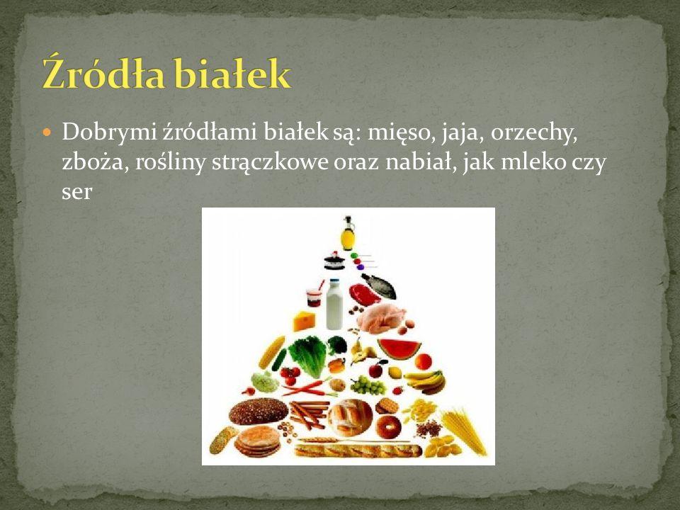 Dobrymi źródłami białek są: mięso, jaja, orzechy, zboża, rośliny strączkowe oraz nabiał, jak mleko czy ser