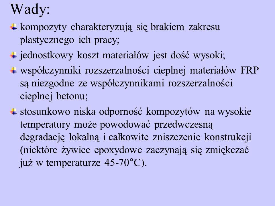 Wady: kompozyty charakteryzują się brakiem zakresu plastycznego ich pracy; jednostkowy koszt materiałów jest dość wysoki; współczynniki rozszerzalności cieplnej materiałów FRP są niezgodne ze współczynnikami rozszerzalności cieplnej betonu; stosunkowo niska odporność kompozytów na wysokie temperatury może powodować przedwczesną degradację lokalną i całkowite zniszczenie konstrukcji (niektóre żywice epoxydowe zaczynają się zmiękczać już w temperaturze 45-70°C).