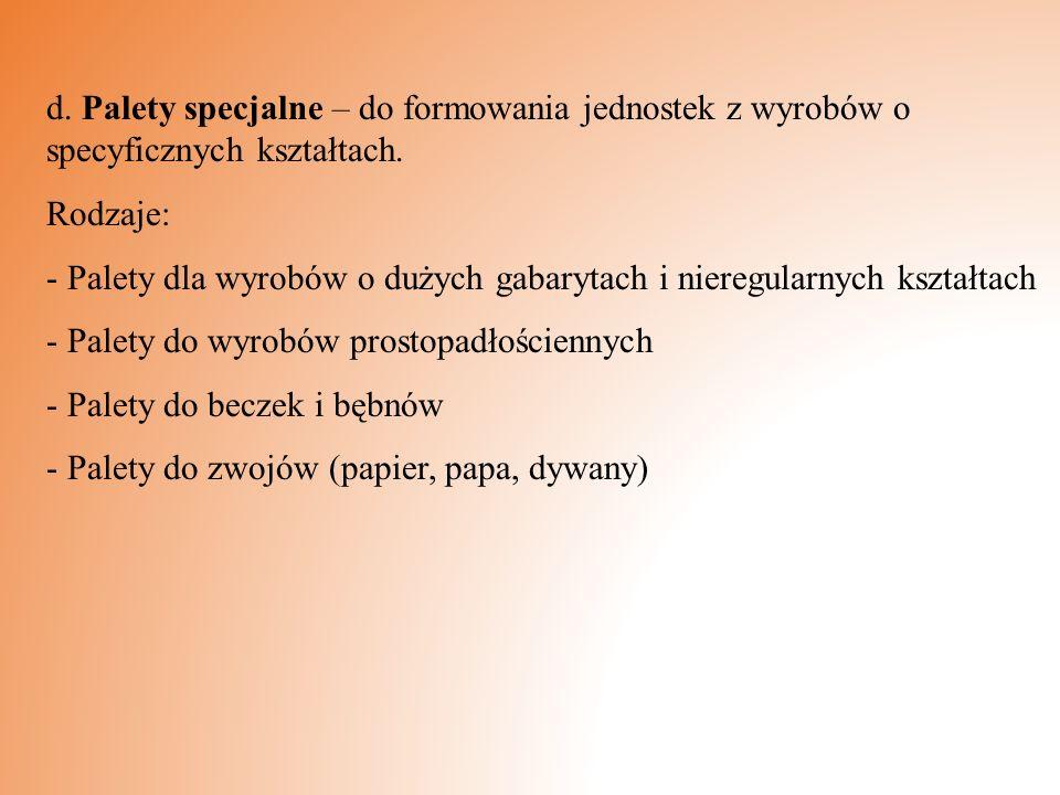 d.Palety specjalne – do formowania jednostek z wyrobów o specyficznych kształtach.