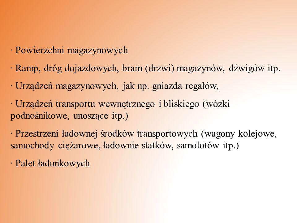 · Powierzchni magazynowych · Ramp, dróg dojazdowych, bram (drzwi) magazynów, dźwigów itp. · Urządzeń magazynowych, jak np. gniazda regałów, · Urządzeń