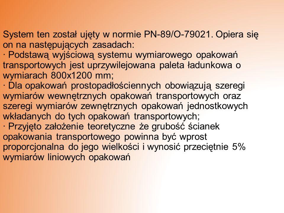 System ten został ujęty w normie PN-89/O-79021. Opiera się on na następujących zasadach: · Podstawą wyjściową systemu wymiarowego opakowań transportow