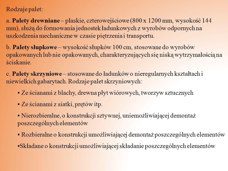 Rodzaje palet: a. Palety drewniane – płaskie, czterowejściowe (800 x 1200 mm, wysokość 144 mm), służą do formowania jednostek ładunkowych z wyrobów od
