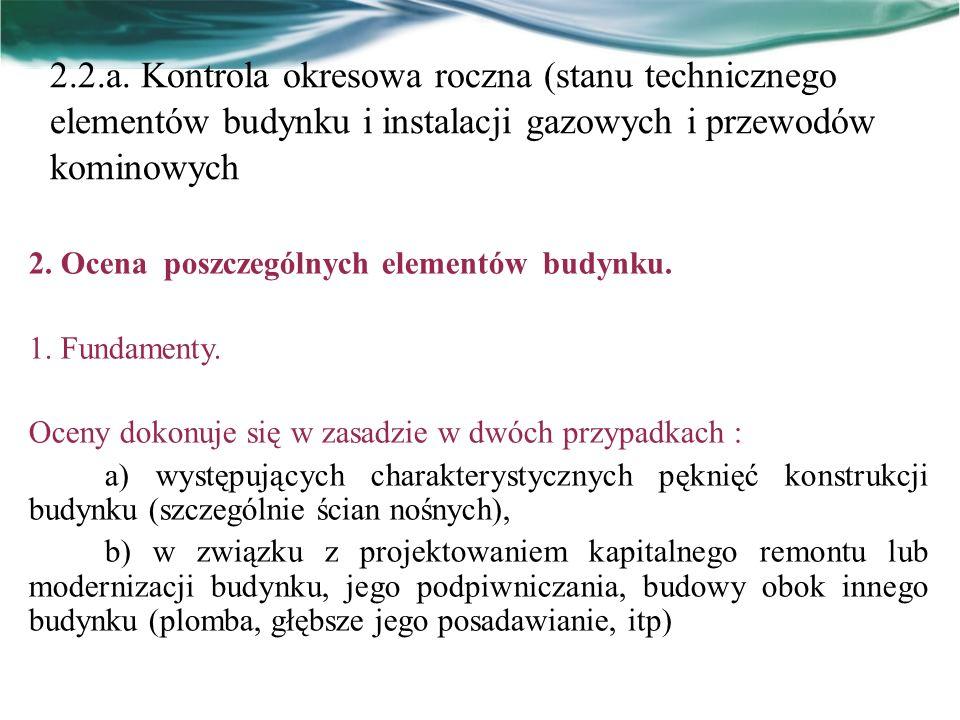 2.2.a. Kontrola okresowa roczna (stanu technicznego elementów budynku i instalacji gazowych i przewodów kominowych 2. Ocena poszczególnych elementów b