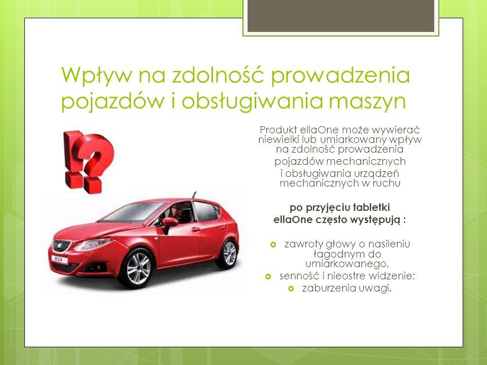 Wpływ na zdolność prowadzenia pojazdów i obsługiwania maszyn Produkt ellaOne może wywierać niewielki lub umiarkowany wpływ na zdolność prowadzenia poj