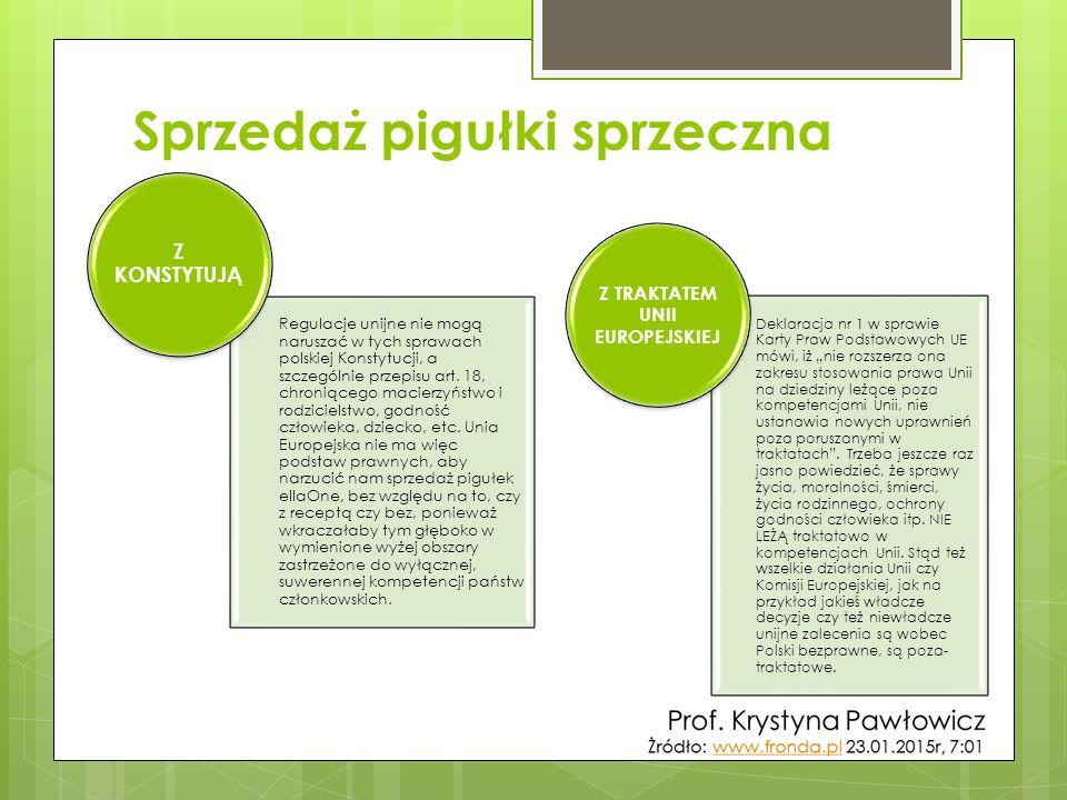 Sprzedaż pigułki sprzeczna Regulacje unijne nie mogą naruszać w tych sprawach polskiej Konstytucji, a szczególnie przepisu art. 18, chroniącego macier