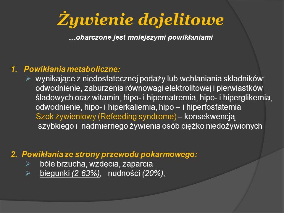 Żywienie dojelitowe … …obarczone jest mniejszymi powikłaniami 1. Powikłania metaboliczne:  wynikające z niedostatecznej podaży lub wchłaniania składn