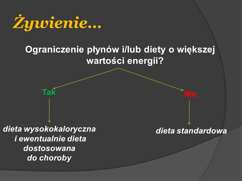 Żywienie… Ograniczenie płynów i/lub diety o większej wartości energii? Tak Nie dieta wysokokaloryczna i ewentualnie dieta dostosowana do choroby dieta