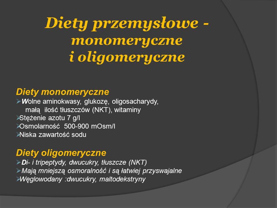 Diety przemysłowe - monomeryczne i oligomeryczne Diety monomeryczne  Wolne aminokwasy, glukozę, oligosacharydy, małą ilość tłuszczów (NKT), witaminy