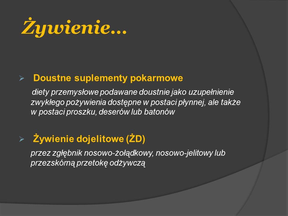 Diety przemysłowe - polimeryczne  Diety kompletne odżywczo, wytworzone z nieprzetworzonych składników odżywczych  Białka 15-25% (kazeina, sojowy wyciąg białkowy,białko jaja)  Węglowodany 40-60% (maltodekstryny, cukroza, skrobia)  Tłuszcze (soja, kukurydza, olej rzepakowy)  Nie zawierają laktozy  Włókna pokarmowe ~5g/l  Woda (85% -1 kcal ; 70% -2 kcal)  Osmolarność ~300 mOsm/l –składniki nie zhydrolizowane  Wskazane do rozpoczęcia żywienia dojelitowego