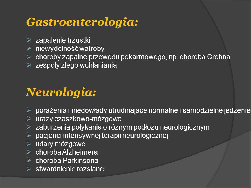 Gastroenterologia:  zapalenie trzustki  niewydolność wątroby  choroby zapalne przewodu pokarmowego, np. choroba Crohna  zespoły złego wchłaniania