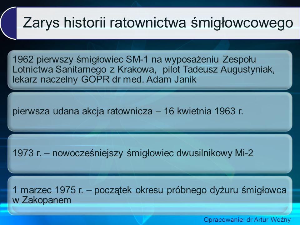 Zarys historii ratownictwa śmigłowcowego 1962 pierwszy śmigłowiec SM-1 na wyposażeniu Zespołu Lotnictwa Sanitarnego z Krakowa, pilot Tadeusz Augustyniak, lekarz naczelny GOPR dr med.