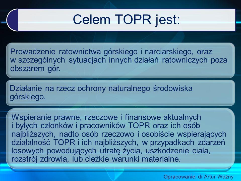 Celem TOPR jest: Prowadzenie ratownictwa górskiego i narciarskiego, oraz w szczególnych sytuacjach innych działań ratowniczych poza obszarem gór.