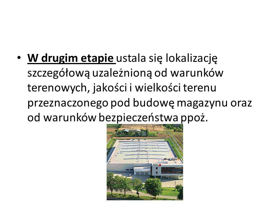W drugim etapie ustala się lokalizację szczegółową uzależnioną od warunków terenowych, jakości i wielkości terenu przeznaczonego pod budowę magazynu o