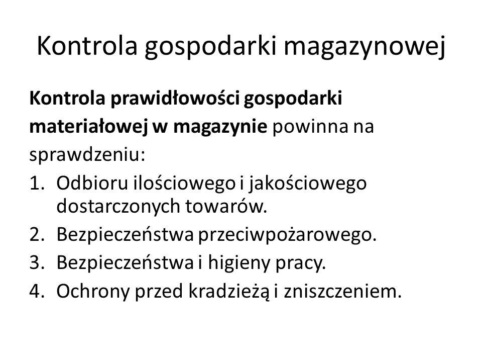 Kontrola gospodarki magazynowej Kontrola prawidłowości gospodarki materiałowej w magazynie powinna na sprawdzeniu: 1.Odbioru ilościowego i jakościowego dostarczonych towarów.