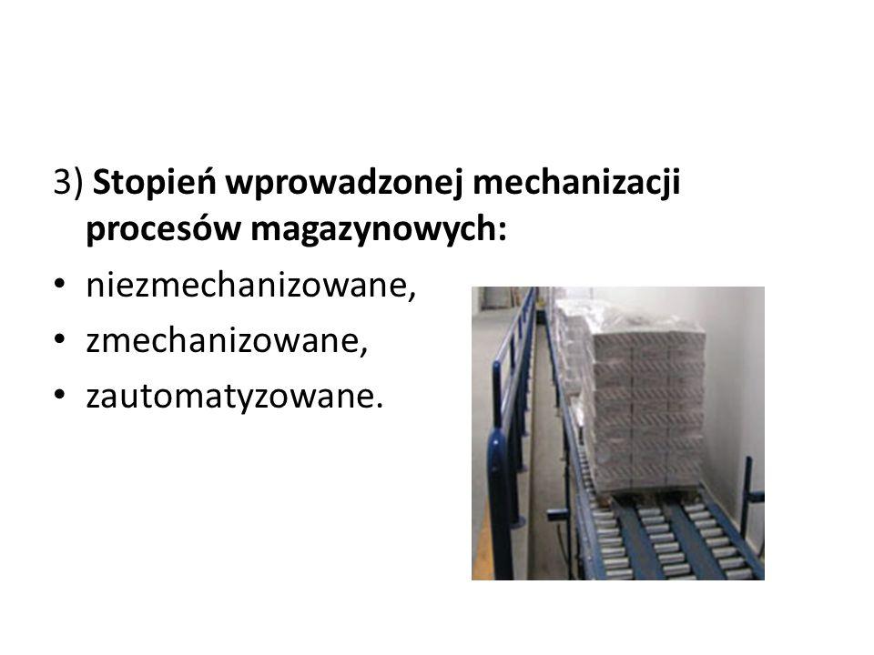 3) Stopień wprowadzonej mechanizacji procesów magazynowych: niezmechanizowane, zmechanizowane, zautomatyzowane.