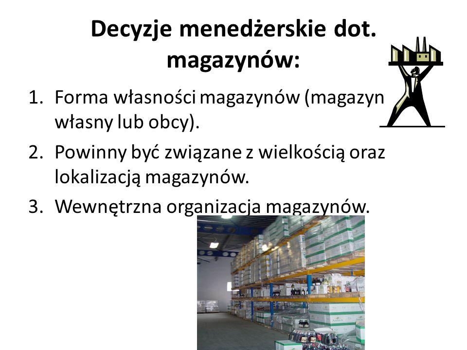 Decyzje menedżerskie dot. magazynów: 1.Forma własności magazynów (magazyn własny lub obcy). 2.Powinny być związane z wielkością oraz lokalizacją magaz