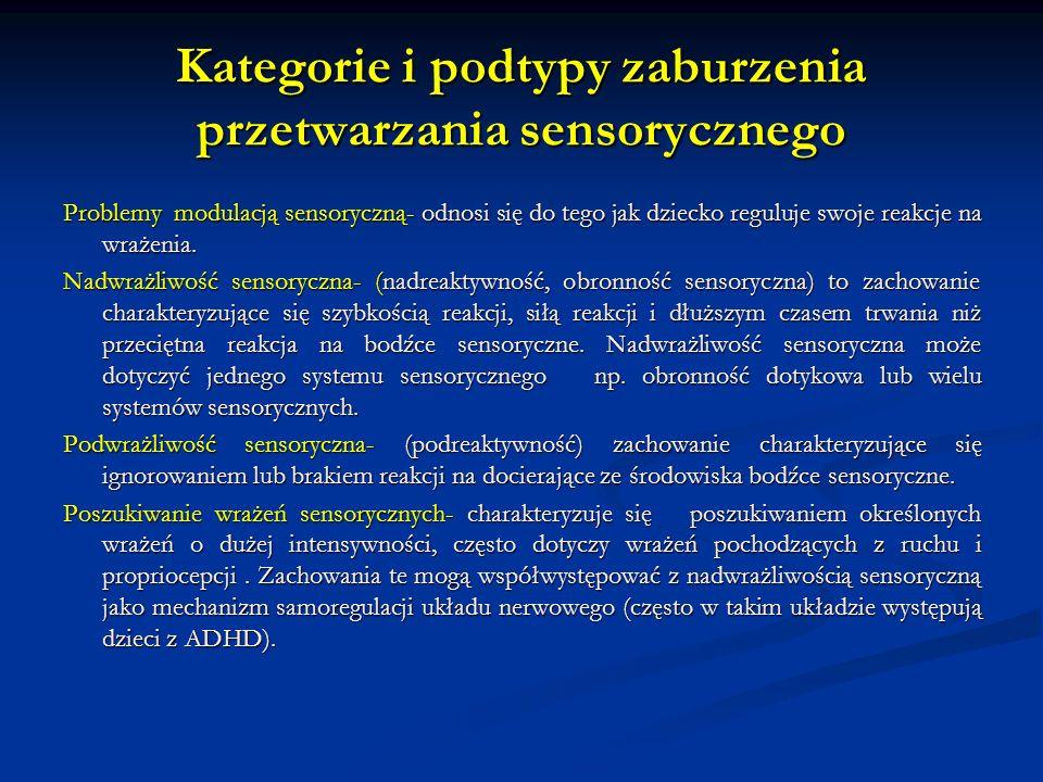 Kategorie i podtypy zaburzenia przetwarzania sensorycznego Problemy modulacją sensoryczną- odnosi się do tego jak dziecko reguluje swoje reakcje na wrażenia.