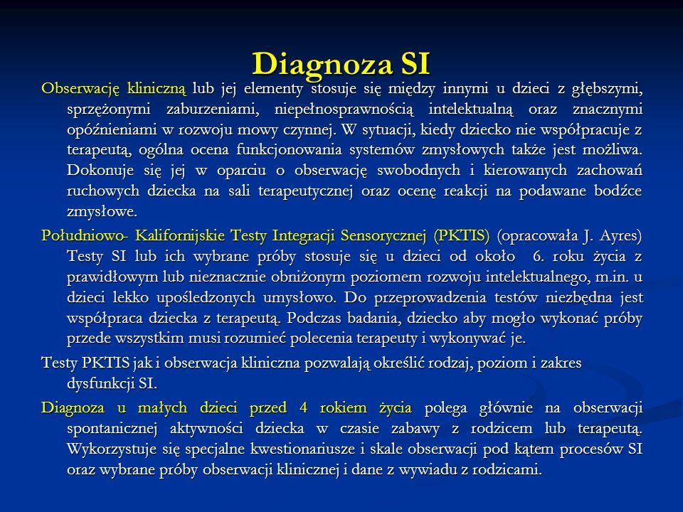 Diagnoza SI Obserwację kliniczną lub jej elementy stosuje się między innymi u dzieci z głębszymi, sprzężonymi zaburzeniami, niepełnosprawnością intelektualną oraz znacznymi opóźnieniami w rozwoju mowy czynnej.