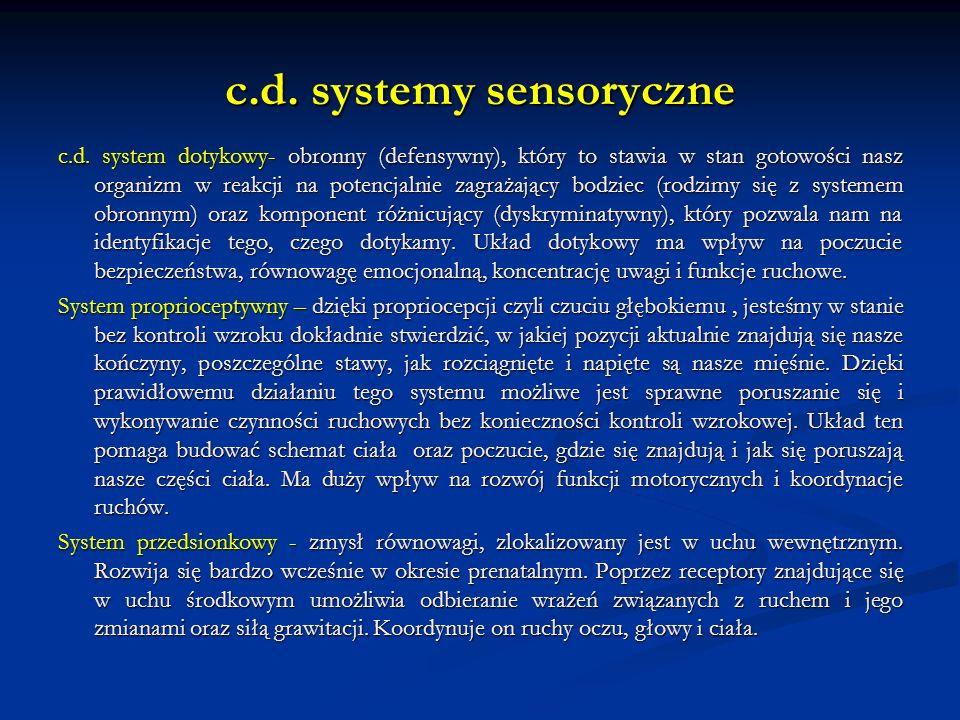 c.d. systemy sensoryczne c.d. system dotykowy- obronny (defensywny), który to stawia w stan gotowości nasz organizm w reakcji na potencjalnie zagrażaj