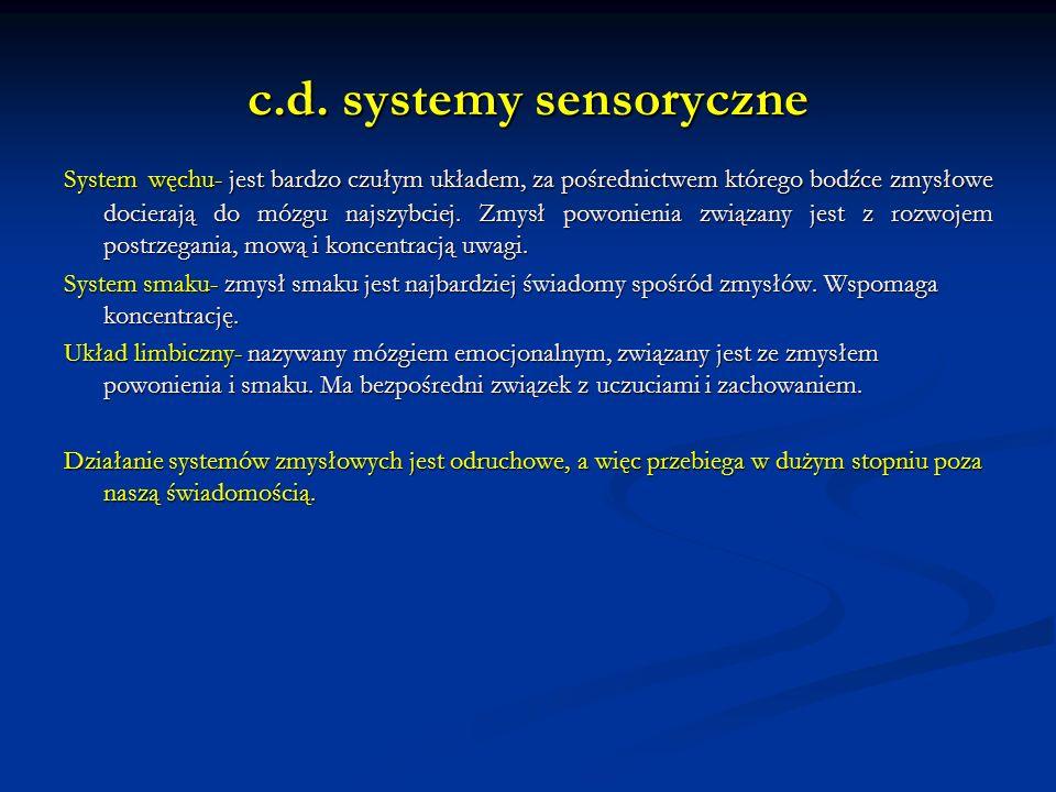 c.d. systemy sensoryczne System węchu- jest bardzo czułym układem, za pośrednictwem którego bodźce zmysłowe docierają do mózgu najszybciej. Zmysł powo