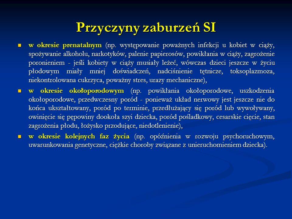 Przyczyny zaburzeń SI w okresie prenatalnym (np. występowanie poważnych infekcji u kobiet w ciąży, spożywanie alkoholu, narkotyków, palenie papierosów