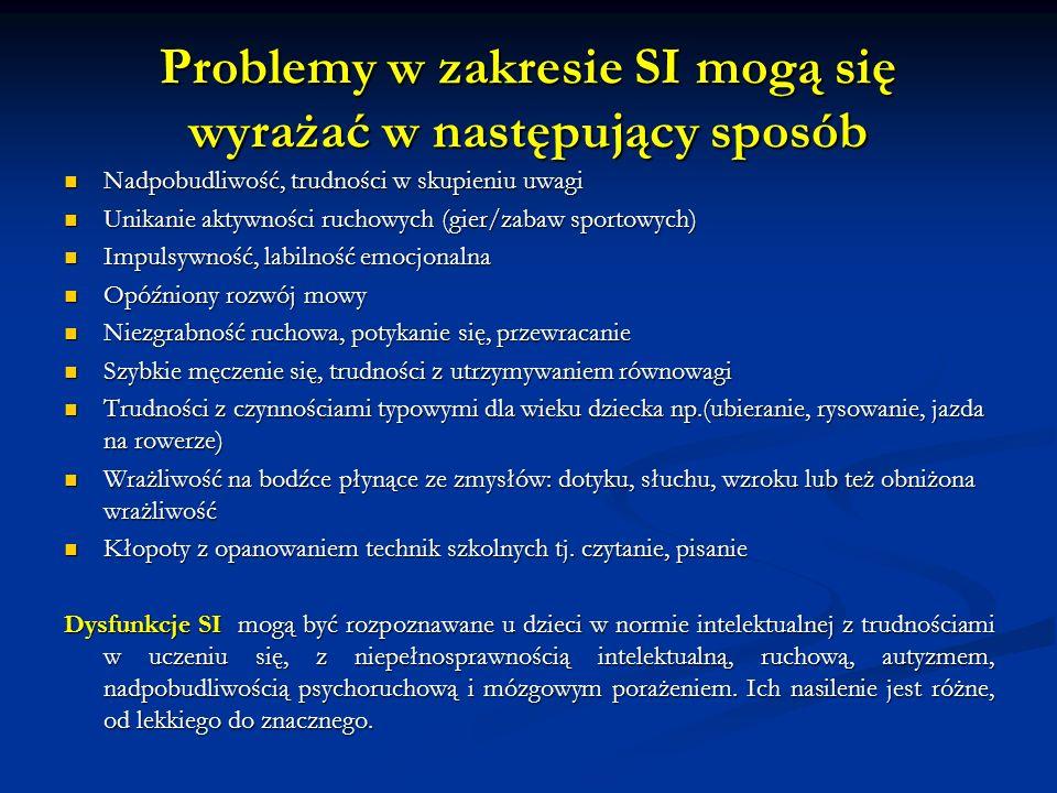 Problemy w zakresie SI mogą się wyrażać w następujący sposób Nadpobudliwość, trudności w skupieniu uwagi Nadpobudliwość, trudności w skupieniu uwagi U