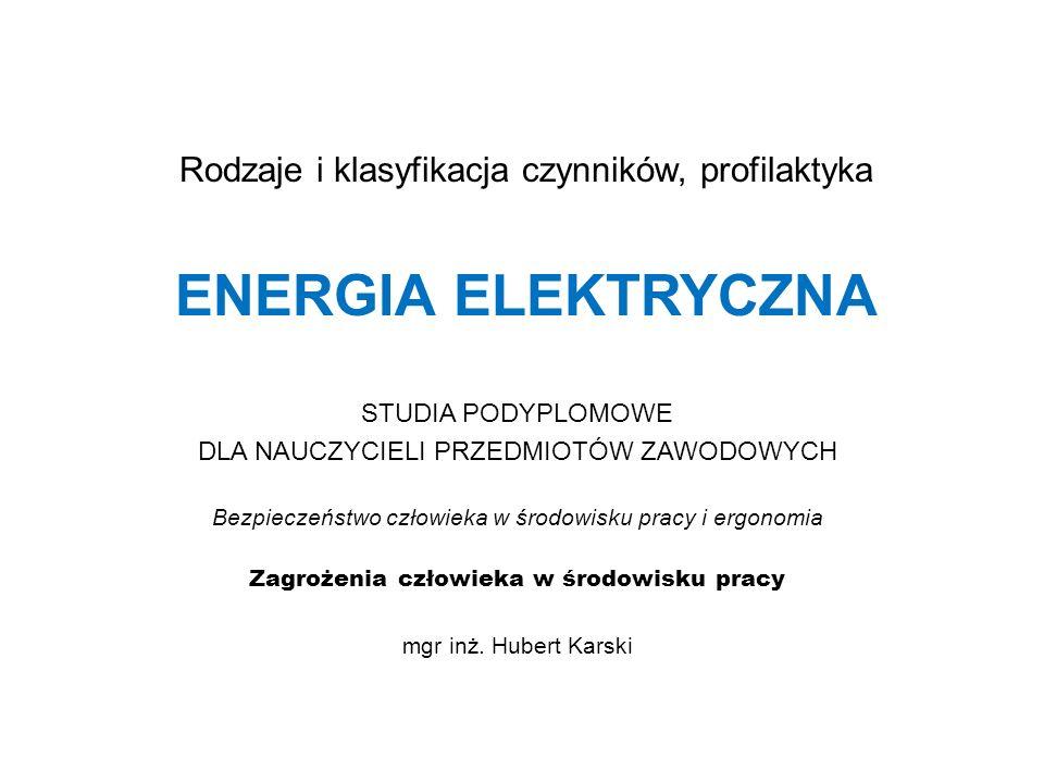 Rodzaje i klasyfikacja czynników, profilaktyka ENERGIA ELEKTRYCZNA STUDIA PODYPLOMOWE DLA NAUCZYCIELI PRZEDMIOTÓW ZAWODOWYCH Bezpieczeństwo człowieka w środowisku pracy i ergonomia Zagrożenia człowieka w środowisku pracy mgr inż.