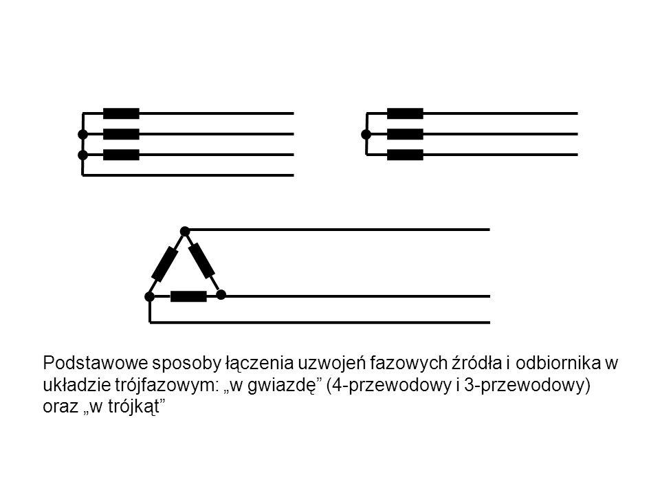 """Podstawowe sposoby łączenia uzwojeń fazowych źródła i odbiornika w układzie trójfazowym: """"w gwiazdę (4-przewodowy i 3-przewodowy) oraz """"w trójkąt"""