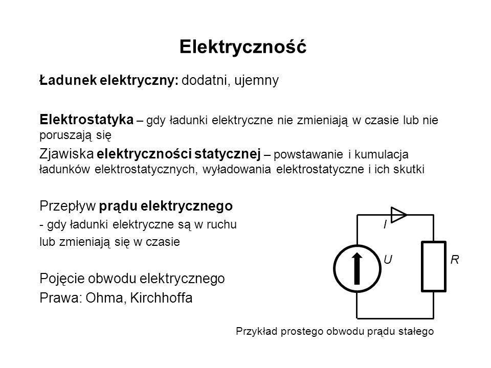 Elektryczność Ładunek elektryczny: dodatni, ujemny Elektrostatyka – gdy ładunki elektryczne nie zmieniają w czasie lub nie poruszają się Zjawiska elektryczności statycznej – powstawanie i kumulacja ładunków elektrostatycznych, wyładowania elektrostatyczne i ich skutki Przepływ prądu elektrycznego - gdy ładunki elektryczne są w ruchu I lub zmieniają się w czasie U R Pojęcie obwodu elektrycznego Prawa: Ohma, Kirchhoffa Przykład prostego obwodu prądu stałego