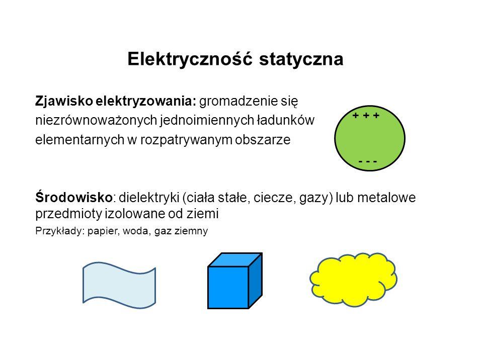 Elektryczność statyczna Zjawisko elektryzowania: gromadzenie się niezrównoważonych jednoimiennych ładunków elementarnych w rozpatrywanym obszarze Środowisko: dielektryki (ciała stałe, ciecze, gazy) lub metalowe przedmioty izolowane od ziemi Przykłady: papier, woda, gaz ziemny + + + - - -