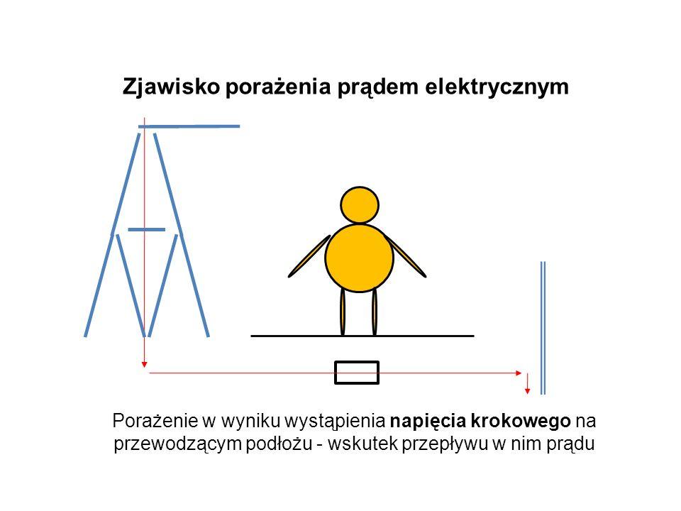 Porażenie w wyniku wystąpienia napięcia krokowego na przewodzącym podłożu - wskutek przepływu w nim prądu Zjawisko porażenia prądem elektrycznym