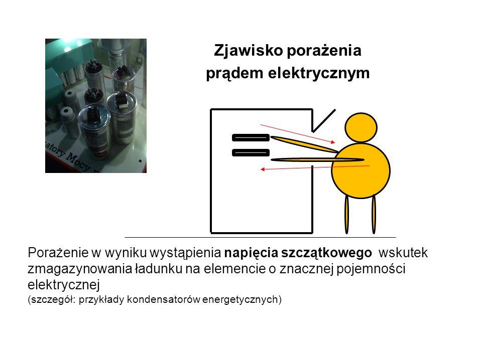 Zjawisko porażenia prądem elektrycznym Porażenie w wyniku wystąpienia napięcia szczątkowego wskutek zmagazynowania ładunku na elemencie o znacznej pojemności elektrycznej (szczegół: przykłady kondensatorów energetycznych)