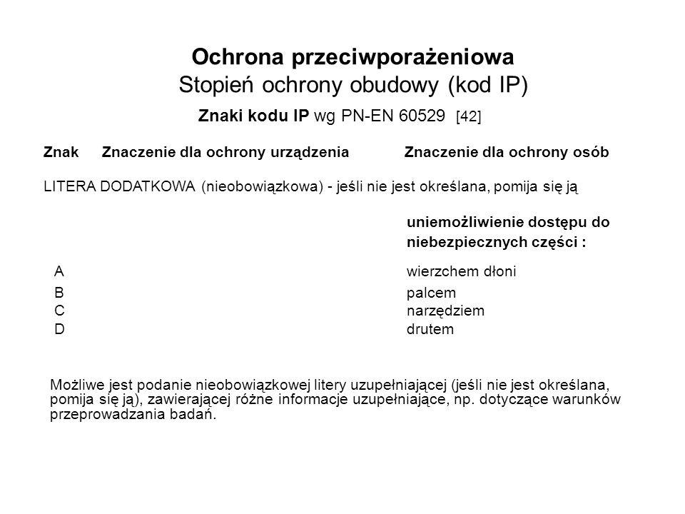 Ochrona przeciwporażeniowa Stopień ochrony obudowy (kod IP) Znaki kodu IP wg PN-EN 60529 [42] Znaki kodu IP wg PN-EN 60529 [42] LITERA DODATKOWA (nieobowiązkowa) - jeśli nie jest określana, pomija się ją uniemożliwienie dostępu do niebezpiecznych części : Awierzchem dłoni Bpalcem Cnarzędziem Ddrutem ZnakZnaczenie dla ochrony urządzenia Znaczenie dla ochrony osób Możliwe jest podanie nieobowiązkowej litery uzupełniającej (jeśli nie jest określana, pomija się ją), zawierającej różne informacje uzupełniające, np.