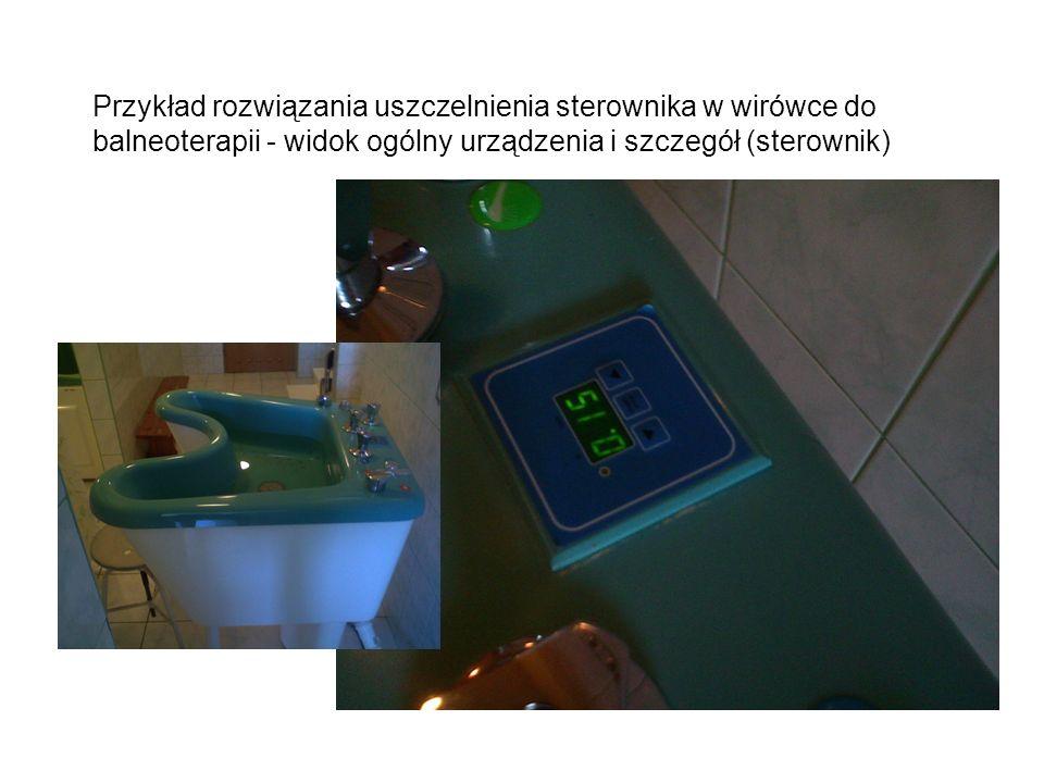 Przykład rozwiązania uszczelnienia sterownika w wirówce do balneoterapii - widok ogólny urządzenia i szczegół (sterownik)