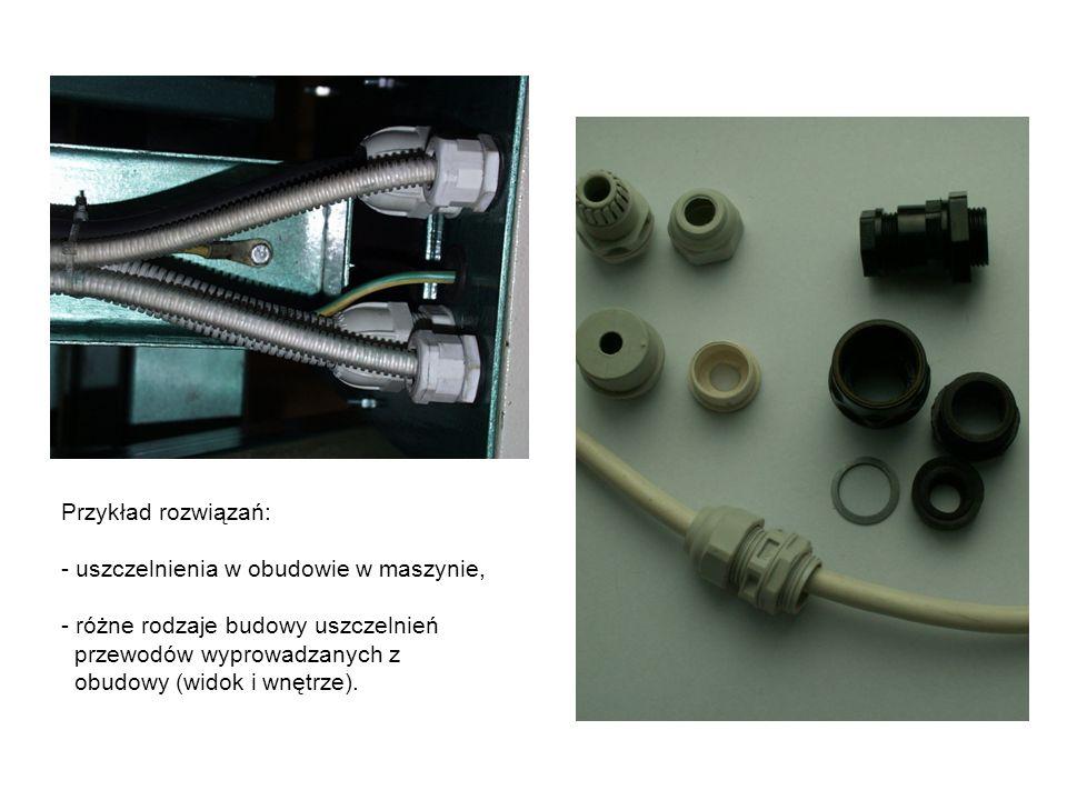 Przykład rozwiązań: - uszczelnienia w obudowie w maszynie, - różne rodzaje budowy uszczelnień przewodów wyprowadzanych z obudowy (widok i wnętrze).