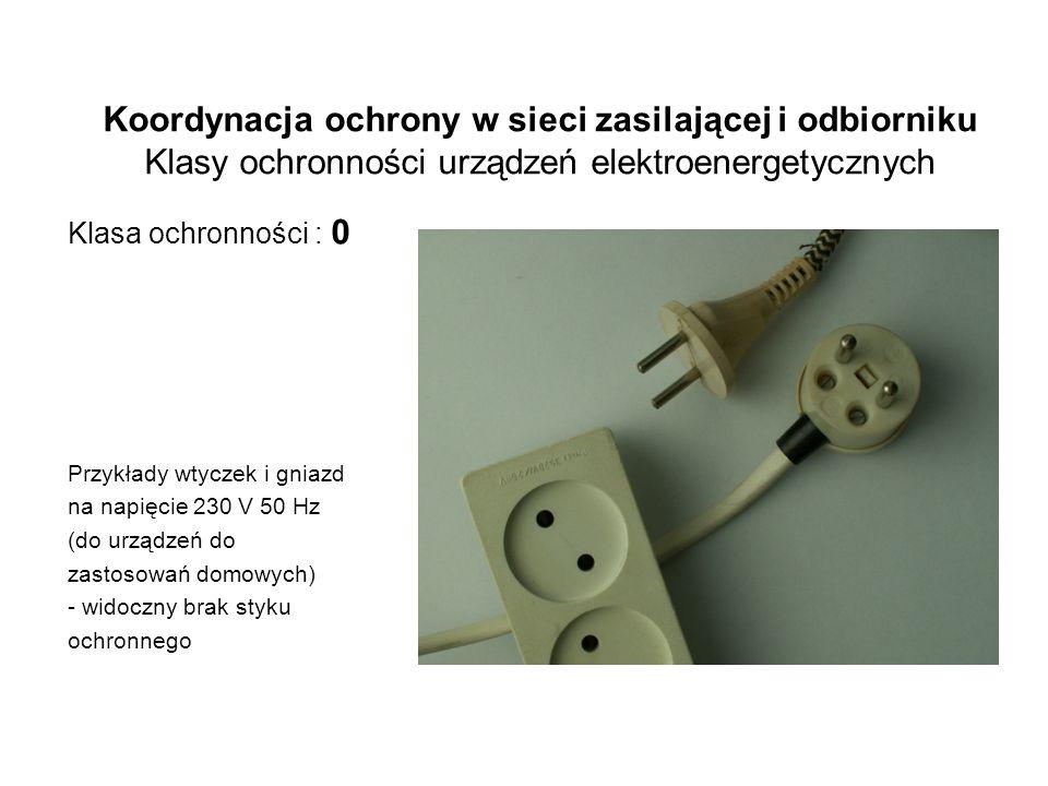 Koordynacja ochrony w sieci zasilającej i odbiorniku Klasy ochronności urządzeń elektroenergetycznych Klasa ochronności : 0 Przykłady wtyczek i gniazd na napięcie 230 V 50 Hz (do urządzeń do zastosowań domowych) - widoczny brak styku ochronnego