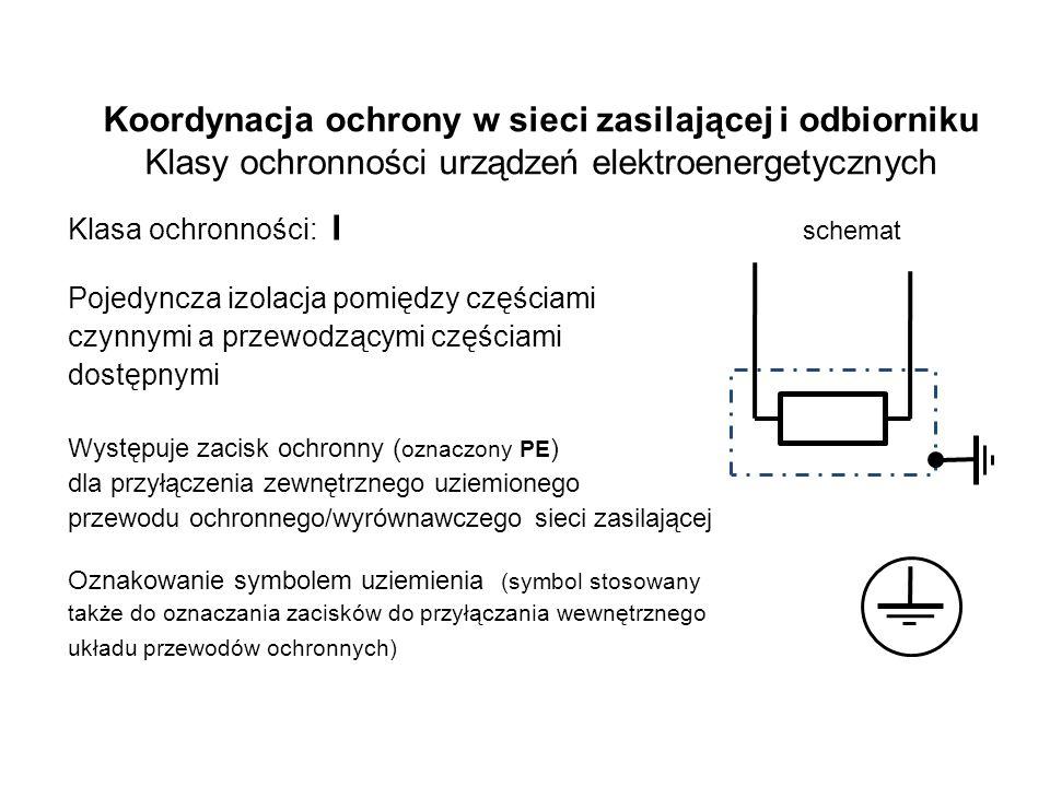 Koordynacja ochrony w sieci zasilającej i odbiorniku Klasy ochronności urządzeń elektroenergetycznych Klasa ochronności: I schemat Pojedyncza izolacja pomiędzy częściami czynnymi a przewodzącymi częściami dostępnymi Występuje zacisk ochronny ( oznaczony PE ) dla przyłączenia zewnętrznego uziemionego przewodu ochronnego/wyrównawczego sieci zasilającej Oznakowanie symbolem uziemienia (symbol stosowany także do oznaczania zacisków do przyłączania wewnętrznego układu przewodów ochronnych)