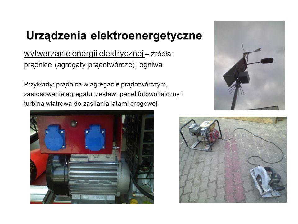 Urządzenia elektroenergetyczne wytwarzanie energii elektrycznej – źródła: prądnice (agregaty prądotwórcze), ogniwa Przykłady: prądnica w agregacie prądotwórczym, zastosowanie agregatu, zestaw: panel fotowoltaiczny i turbina wiatrowa do zasilania latarni drogowej
