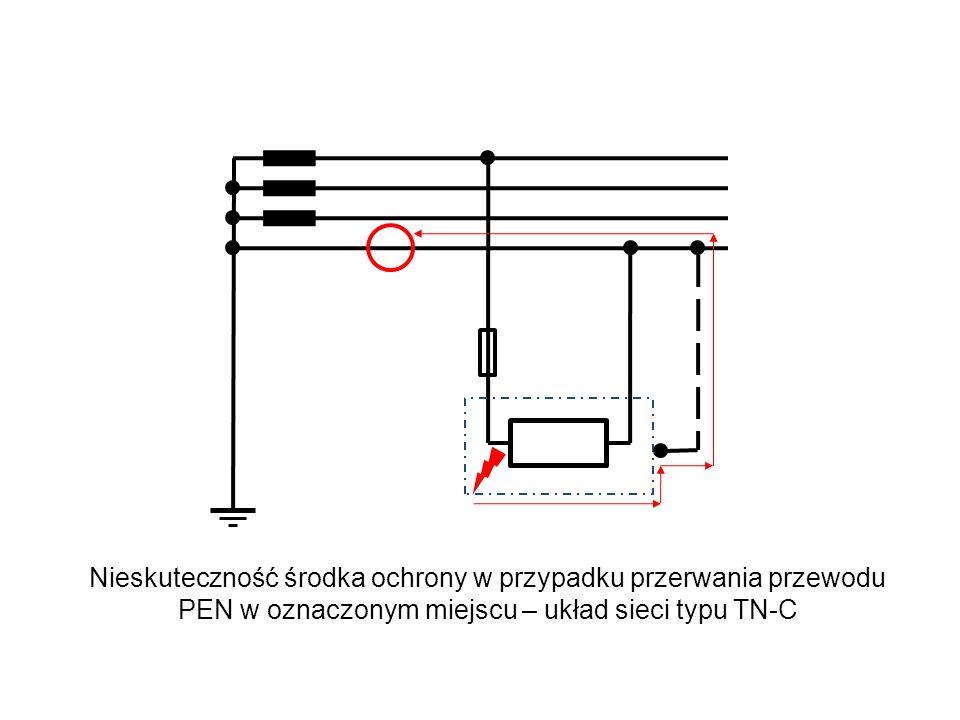 Nieskuteczność środka ochrony w przypadku przerwania przewodu PEN w oznaczonym miejscu – układ sieci typu TN-C
