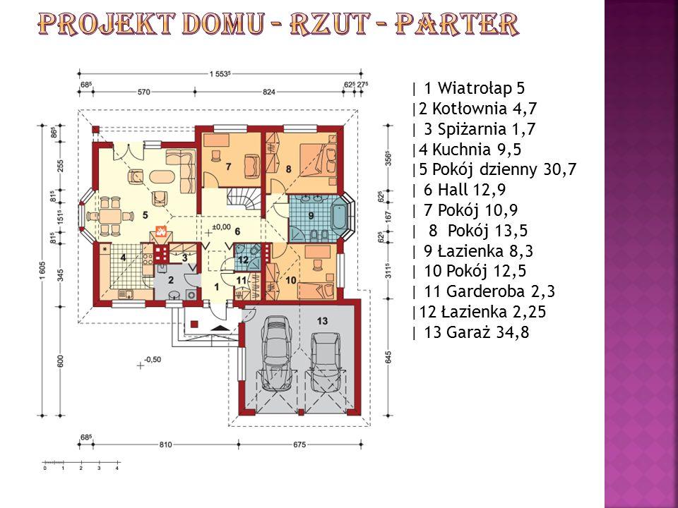 | 1 Wiatrołap 5 |2 Kotłownia 4,7 | 3 Spiżarnia 1,7 |4 Kuchnia 9,5 |5 Pokój dzienny 30,7 | 6 Hall 12,9 | 7 Pokój 10,9 | 8 Pokój 13,5 | 9 Łazienka 8,3 | 10 Pokój 12,5 | 11 Garderoba 2,3 |12 Łazienka 2,25 | 13 Garaż 34,8