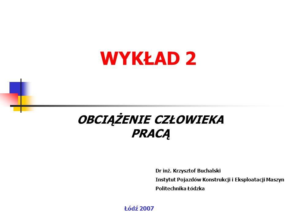 Ocena obciążenia pracą 1 - wskaźnik rezerwy tętna (obciążenie dynamiczne) 2 - metoda OWAS (obciążenie statyczne) 1.