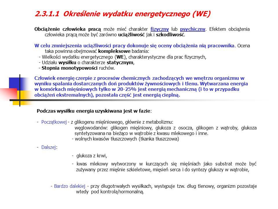 2.3.1.1 Określenie wydatku energetycznego (WE) Obciążenie człowieka pracą może mieć charakter fizyczny lub psychiczny.