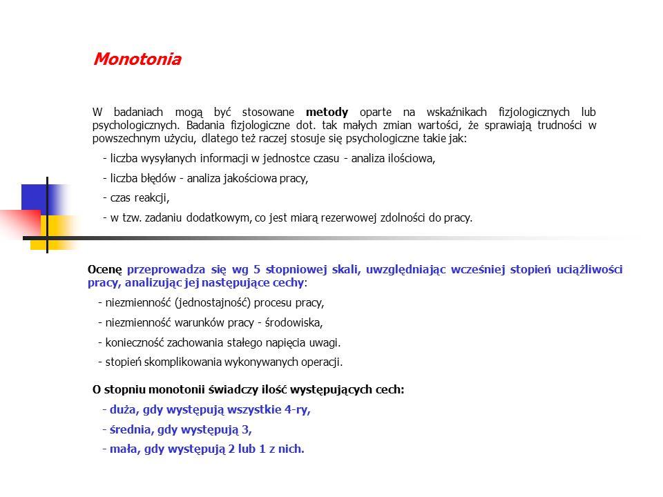 Monotonia W badaniach mogą być stosowane metody oparte na wskaźnikach fizjologicznych lub psychologicznych.