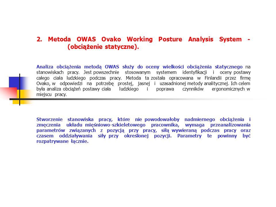 2. Metoda OWAS Ovako Working Posture Analysis System - (obciążenie statyczne).