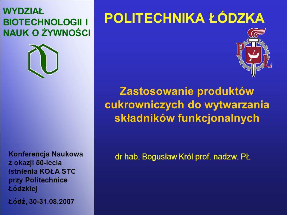 POLITECHNIKA ŁÓDZKA WYDZIAŁ BIOTECHNOLOGII I NAUK O ŻYWNOŚCI dr hab. Bogusław Król prof. nadzw. PŁ Zastosowanie produktów cukrowniczych do wytwarzania