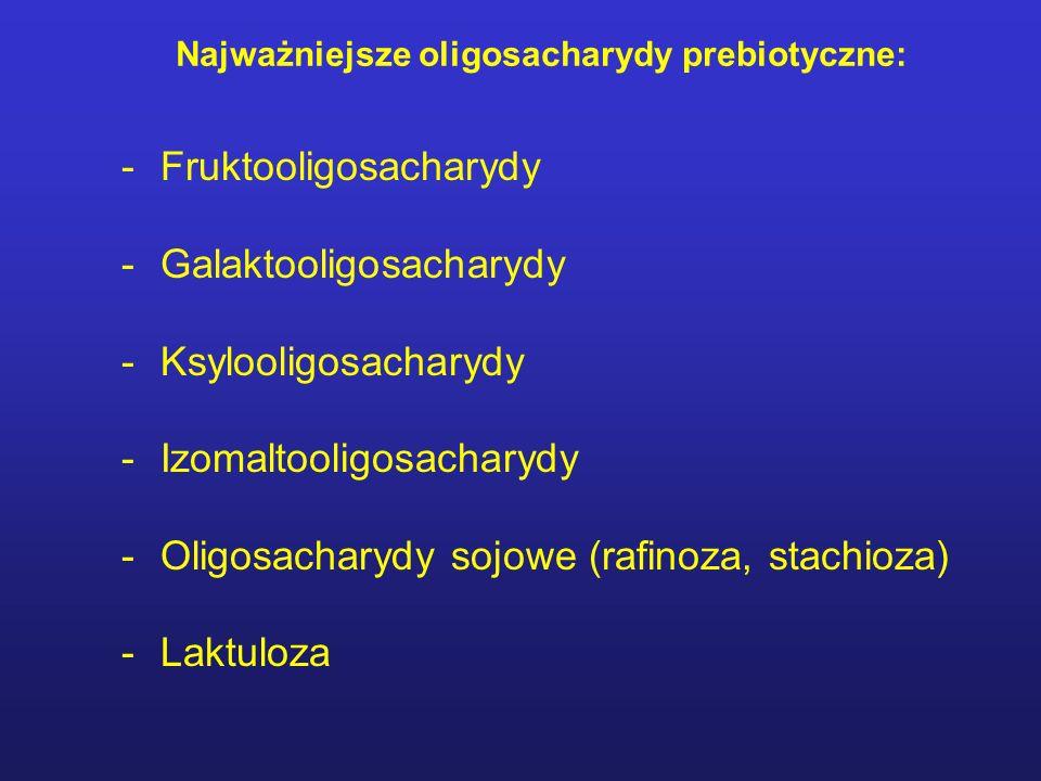 Najważniejsze oligosacharydy prebiotyczne: -Fruktooligosacharydy -Galaktooligosacharydy -Ksylooligosacharydy -Izomaltooligosacharydy -Oligosacharydy sojowe (rafinoza, stachioza) -Laktuloza