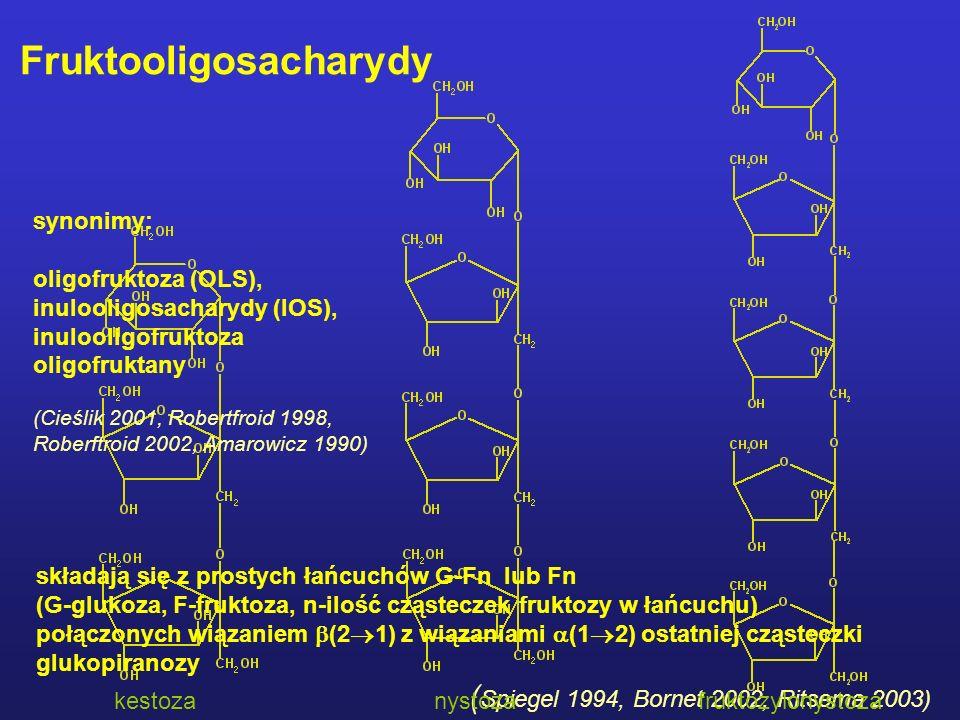 składają się z prostych łańcuchów G-Fn lub Fn (G-glukoza, F-fruktoza, n-ilość cząsteczek fruktozy w łańcuchu) połączonych wiązaniem  (2  1) z wiązaniami  (1  2) ostatniej cząsteczki glukopiranozy ( Spiegel 1994, Bornet 2002, Ritsema 2003) kestozanystozafruktozylonystoza Fruktooligosacharydy synonimy: oligofruktoza (OLS), inulooligosacharydy (IOS), inulooligofruktoza oligofruktany (Cieślik 2001, Robertfroid 1998, Roberftroid 2002, Amarowicz 1990)